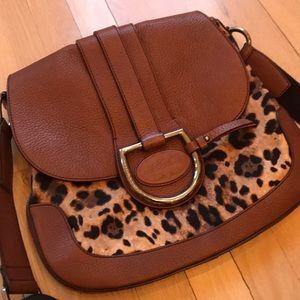 Dolce & Gabbana Leopard & Leather Messenger Bag